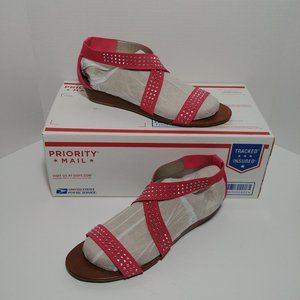 """Pink Studded Strappy 🌺 1"""" Wedge Sandals, Size 10"""